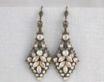 Crystal Wedding earrings, Bridal earrings, Bridal jewelry, Antique brass earrings, Swarovski earrings, Chandelier earrings, Vintage style