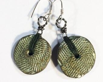 Stamped Clay Earrings, Polymer Clay Earrings