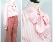 Vintage Bow Blouse, 70s Pink Stripe Pussy Bow Blouse, Long Sleeve Pink Blouse With Neck Bow and Button Front, Size L