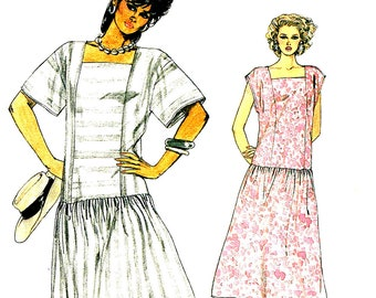 Vintage 1980s Vogue 9241 Drop Waist Drindl Skirt Sewing Pattern Square Neckline Size 6, 8, 10 Bust 31.5, 31.5 32.5 Inch Cut Complete