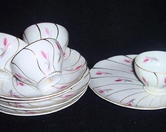 4  Vintage YAMAKA China Grey and Pink Wheat with Gold Trim Snack Plate and Cup~Japan