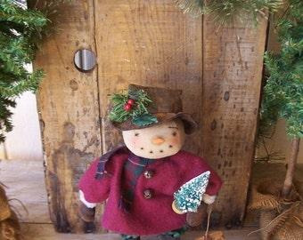 Primitive Standing Snowman Art Doll with Vintage Bristle Brush Christmas Tree OFG HAFAIR FAAP