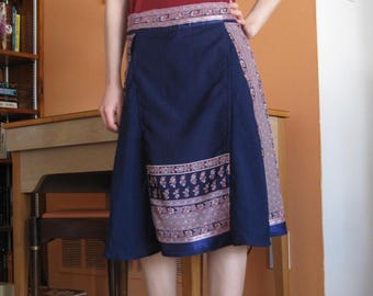 Navy Blue Midi Skirt with Pockets - Small