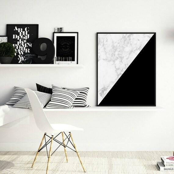 black and white prints, modern wall art, marble art print, geometric decor, printable wall art, black and white print,