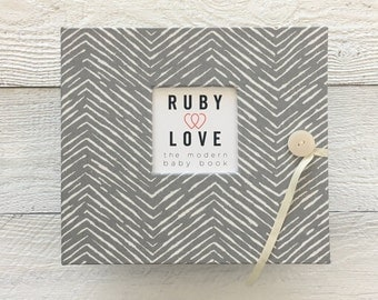 BABY BOOK | Gray Freeform Arrows Baby Book | Baby Memory Book