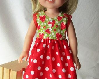 """Wellie Wisher Strawberry Garden Dress - 14.5"""" Doll - Ready to Ship"""