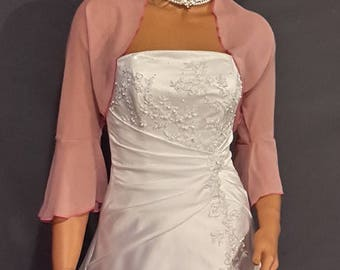 Chiffon bolero jacket 3/4 bell sleeve shrug prom wrap bridal sheer cover up CBA216 AVL IN rose pink and 6 other colors. Small - Plus size!