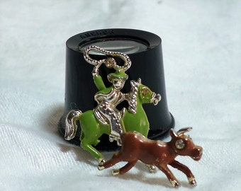 Adorable Vintage Trembler Brooch Cowboy Steer Action Silver Green Brown Rhinestone