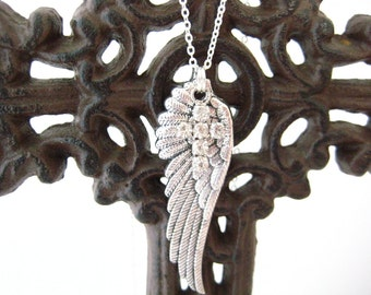 Layering Angel Wing and Rhinestone Cross Necklace, Graduation Gifts
