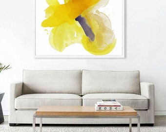 """Large Abstract Watercolor Canvas, yellow, purple, light green, 48 x 48"""" """"Apricity"""" mid century inspired art, contemporary original abstract"""