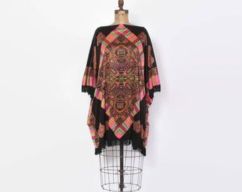 Vintage 70s ETHNIC Mini Dress / 1970s Psychedelic Neon & Black Silky Jersey Ethnic Fringe Tunic