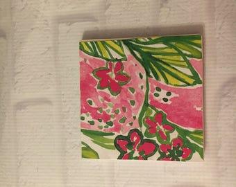 Preppy Drink Coaster, Floral Coaster, Pink and Green Coaster, Preppy Inspired Coaster, Drink Coaster, Colorful Coaster, Preppy Barware