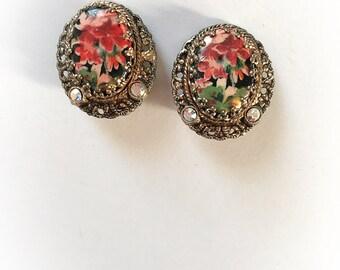 Vintage West Germany Floral Earrings with Rhinestones Clip on