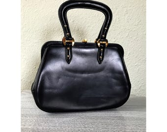 Vintage 1950s 1960s Milch Purse Black Pleather with Brass Hardware Red Lining