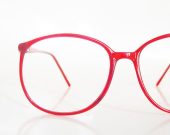 Cherry Red Glasses 1980s Eyeglasses Womens Oversized Wayfarer Round P3 Deadstock Optical Frames Bright Clear Hipster Indie Chic 80s Eighties