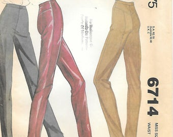 McCalls 6714  1970s Slim Leg Fitted Pants Vintage Sewing Pattern Waist 24 Narrow Leg