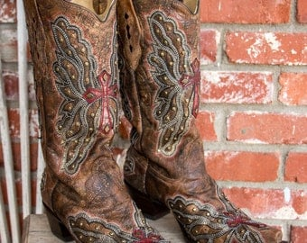 """Corral Vintage Red Wing and Cross Inlay Cowgirl boots Womens size 10 M 13"""" shaft"""