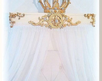Shabby Pink Princess French Chic Bed Crown Canopy Teester