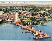 Vintage Florida Postcard - Aerial View of Sarasota and City Pier (Unused)