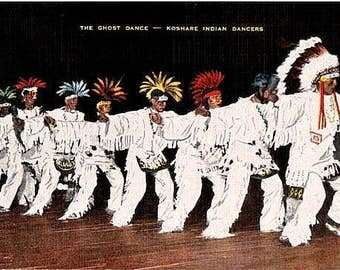 Vintage Colorado Postcard - The Ghost Dance by Koshare Indian Dancers (Unused)