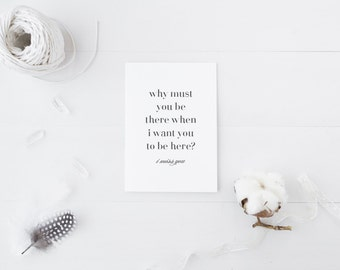 Greeting Card, Black and White Card, Typography Card, Elegant Card, I Miss You Card, Let's Talk Soon, I Wish You Were Here, Calligraphy Card