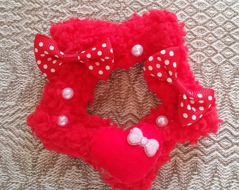 2-Way Red Polka Dot Bow Heart Fuzzy Star Barrette and Pin Combo