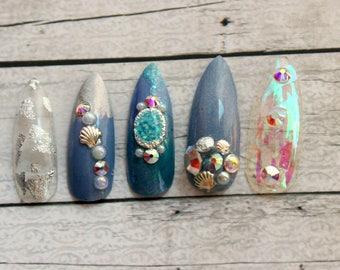 Seaglass Stiletto Ballerina Coffin Fake Nails |  Summer Press On Nails | Beach Seashell Nails | Rhinestone Nails |  Glue On Acrylic Nails