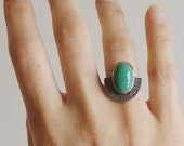 RESERVED Turquoise Stamped Sterling Silver - Ring Size 6 - Boho Hippie Art Deco Style