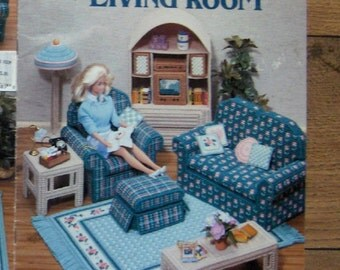 "1990 Plastic Canvas pattern 11 1/2"" Fashion Doll LIVING ROOM"