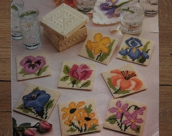 vintage 80s plastic canvas pattern floral coasters 8 coasters and box