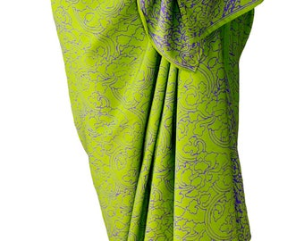 Batik Sarong Pareo Womens Clothing Sarong Wrap Skirt Beach Cover Up - Lime Green & Purple Sarong Wrap Skirt Beach Sarong Skirt