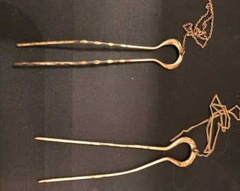 Antique Gold-Filled Hair Pins