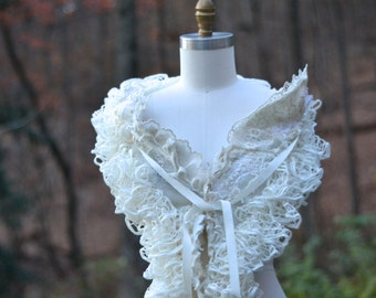 White Winter Wedding bridal boho SHAWL, Capelet, Shrug, Wrap, OOAK refashioned ivory accessory with ruffles, vintage lace, beaded appliqués