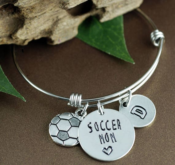 Personalized Sports Bracelet, Soccer Mom Bracelet, Mom Jewelry, Mothers Day Gift, Initial Bracelet, Soccer Jewelry, Team Mom Gift