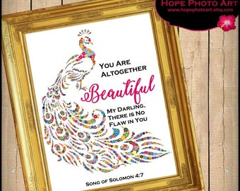 You Are Beautiful Bible Scripture Song of Solomon 4:7 Digital Collage Sheet 8x10 Image Transfer Wall Art Printable UPrint 300jpg