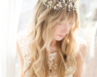 Boho Wedding Flower Crown, Gold Wire Hair Vine Hair Wreath, Gold Wedding Flower Hair Vine, Boho Wedding Headpiece - 'MAGNOLIA'