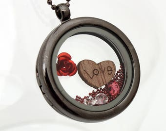 Love heart floating glass locket with wooden love heart, metal rose, microbeads and crystals- romantic gift for her- gunmetal transparent
