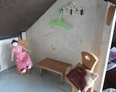 SALE Dollhouse Decor. Two Wooden Chairs, Wooden Table, Doll, Barn printed pillow Hangers. 243