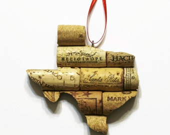 state ornament - texas ornament - cork ornaments - wine cork ornaments - wine gifts - christmas ornaments - window ornament - ornaments