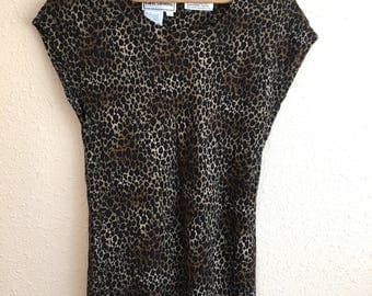 Vintage LEOPARD Blouse / Karin Stevens / Animal Print Top / Womens Size Medium Large