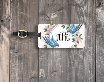 Luggage Tag Floral Sparrows Custom on Front Personalized Address or Info on backs  Single Tag