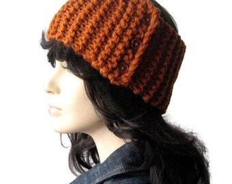 Rust Headband, Vegan Headband, Knit Earwarmer, Knit Head Wrap, Earwarmer Buttons, Knit Headband, Wood Buttons