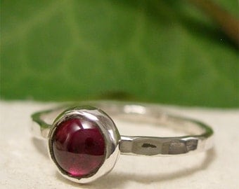 Garnet Stacking Ring, January Birthstone Jewelry, Sterling Silver Gemstone Ring, Red Stone Ring, Thin Silver Ring, Bezel Set Smooth Cabochon