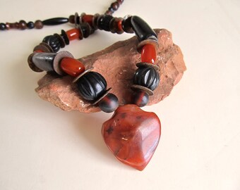 Tribal Heart Necklace w Old African Carnelian Pendant