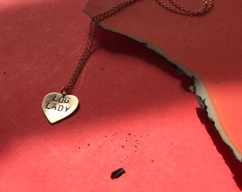 Twin Peaks Log Lady heart charm necklace