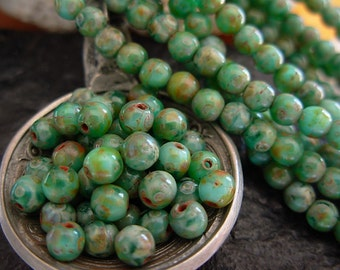 4mm Round, Picasso Beads, Czech Glass Beads- Green Agate Picasso (50)