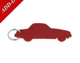Vintage Sports Car Designer Wool Felt Keychain - Burgundy, 100% Wool, MGB Bordeaux, Racing Car, Add-On Item