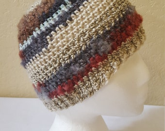 Crochet Striped Beanie / Hat / Cap / Creams And Browns With Opal Shimmer/ Adult/ Womens Crochet Skull Cap/ Handmade Winter Accessories