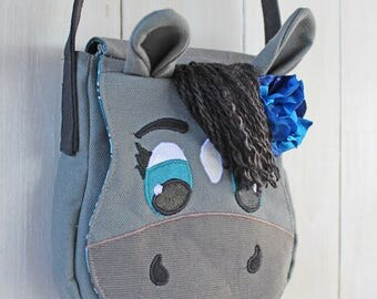 SALE was 45.00 Gray horse purse for children pony purse bag READY to SHIP