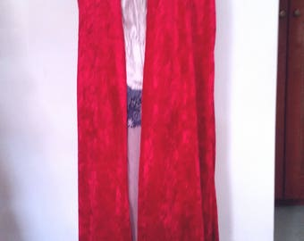 handmade red velvet cloak, velvet look, elven cloak, strawberry burgundy colour, hooded cloak, medieval cloak, medieval costume